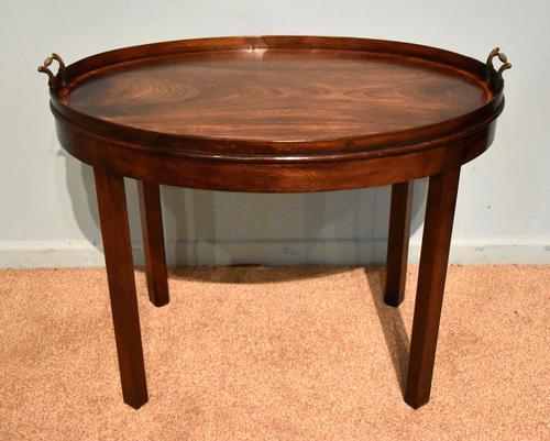 George III Mahogany Cross Banded Oval Tray (1 of 5)