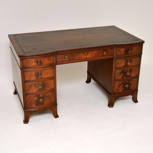 Antique Mahogany  Leather Top Pedestal Desk (1 of 11)