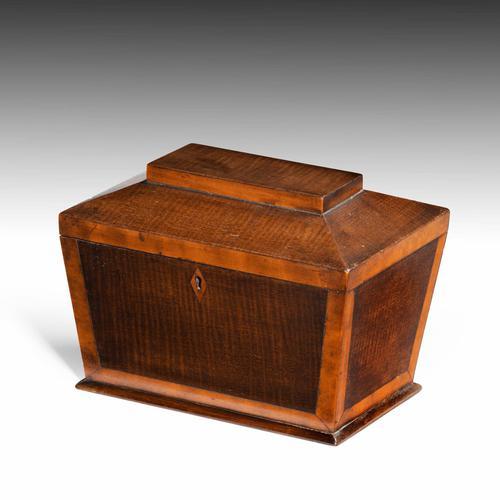 Shaped Late George III Period Mahogany Tea Caddy (1 of 4)
