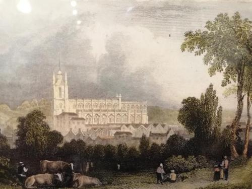 19th Century Hand Coloured Engraving of Saffron Walden Church (1 of 6)