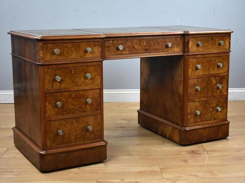 19th Century Victorian Burr Walnut Pedestal Desk (1 of 18)