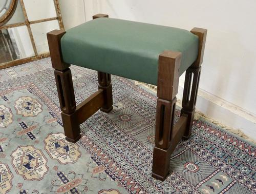 Stylish Arts and Crafts Oak and Leather Stool (1 of 6)