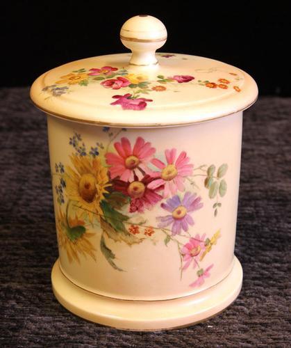 Antique Royal Worcester Blush Ivory Lidded Jar (1 of 8)