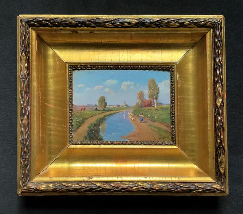 Josef Harencz Original Canal & Swan Landscape Oil Painting (1 of 10)
