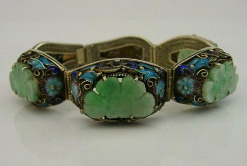 Superb Chinese Solid Silver Gilt Enamel & Jade Bracelet c.1920 Antique (1 of 12)