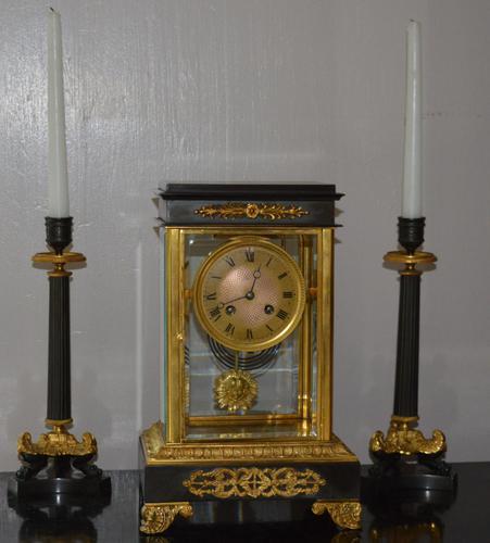 Bronze Ormolu Four Glass Clock Set (1 of 9)