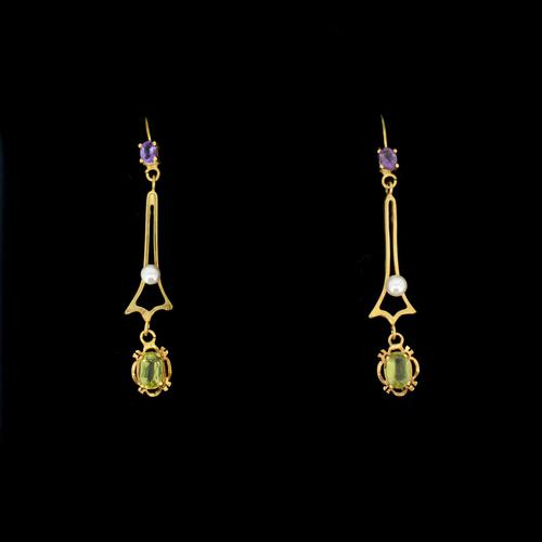 Antique Amethyst Peridot and Pearl Drop Dangle 9ct 9K Yellow Gold Earrings (1 of 4)