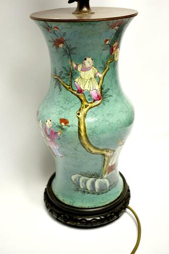 19th century Chinese vase converted to a lamp (1 of 9)