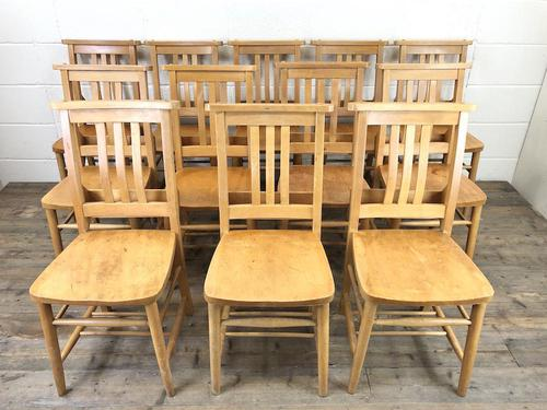 Set of Twelve Vintage Beech Chapel Chairs (1 of 15)