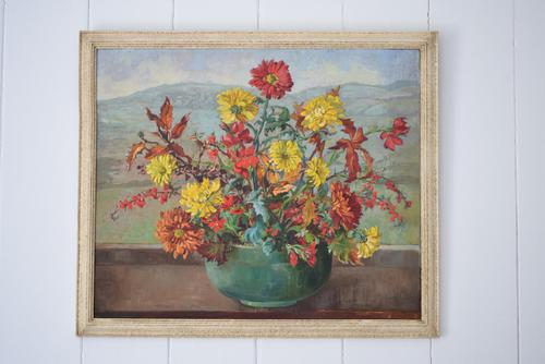 Large Mid Century Oil Painting Still Life of Chrysanthemums (1 of 10)