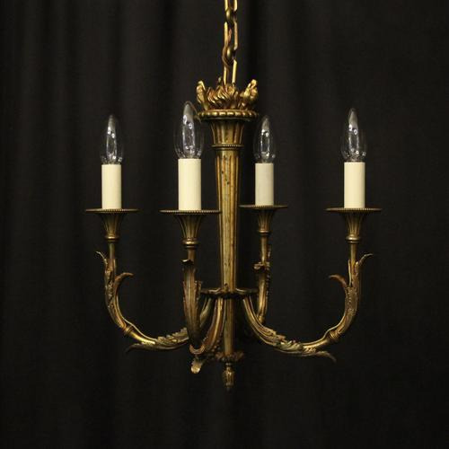 French Gilded Bronze 4 Light Antique Chandelier (1 of 10)