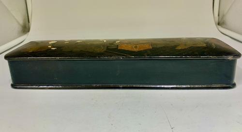 Antique Oriental Hand Painted Lacquer Glove Box c.1870 (1 of 5)
