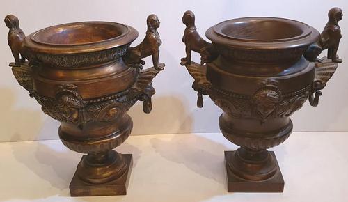 Rare Pair of 19th Century Bronze Planters / Urns (1 of 7)