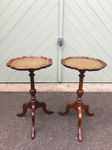 Pair of Walnut Leather Top Tripod Wine Tables (1 of 8)