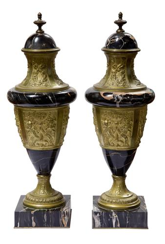 A Pair of Marble & Gilt Metal Urns (1 of 5)