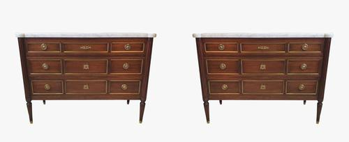 Lovely Quality Pair of Mid 20th Century Marble Top Mahogany Chests (1 of 6)