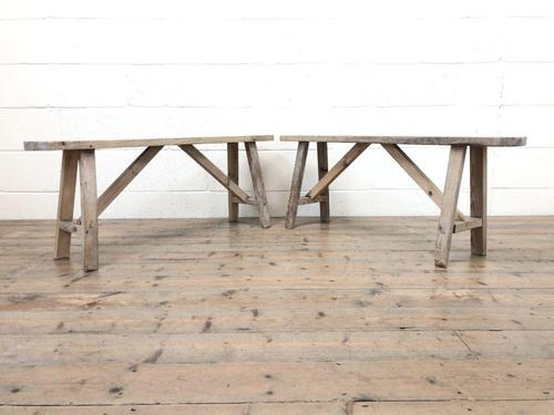 Pair of Antique Rustic Pine Benches (1 of 6)