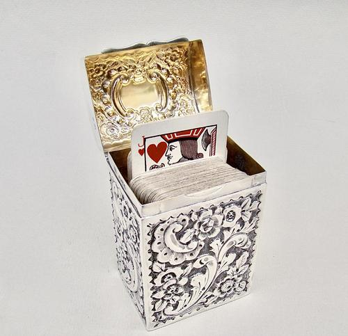 Victorian Silver Patience Card Box by Nathan & Hayes, Chester 1900 (1 of 11)