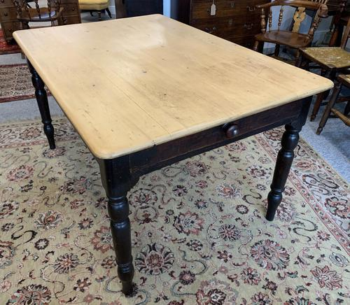 Antique Victorian Pine Farmhouse Table with Drawer (1 of 16)