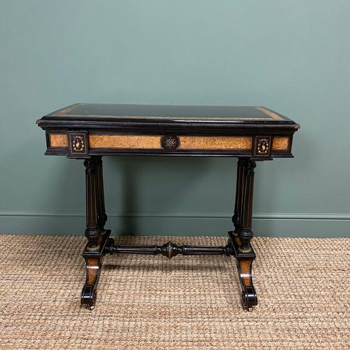 Victorian Ebonized and Walnut Antique Games Table (1 of 9)