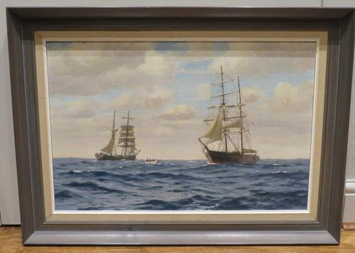 20th Century Oil on Board Mary Celeste Intercepted by the Dei Gratia by Roger Fisher (1 of 5)