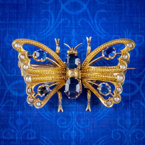 Antique Victorian Sapphire Pearl Butterfly Brooch 15ct Gold 1.20ct Sapphire Circa 1890 (1 of 5)