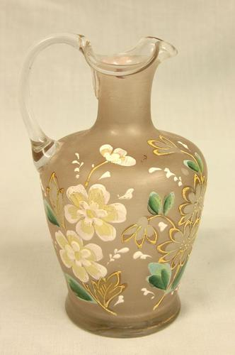 Antique Frosted Glass Decorated Jug (1 of 4)