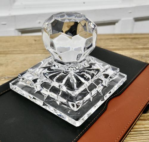 Heavy Art Deco Cut Crystal Paper Weight, Numbered Limited Edition (1 of 6)