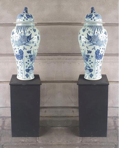 Pair of 20th Century Urns on Stands (1 of 5)