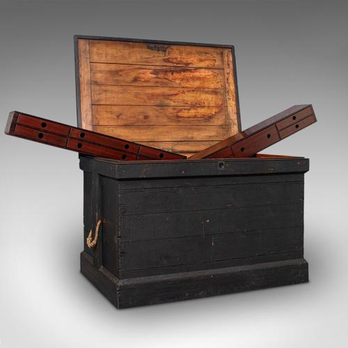 Antique Master Craftsman's Chest, English, Pine, Mahogany, Tool Trunk, Victorian (1 of 12)