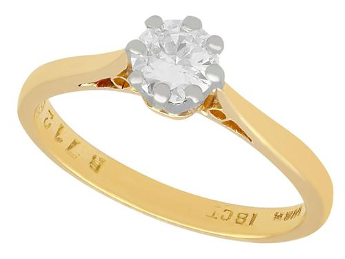 0.42ct Diamond & 18ct Yellow Gold, 18ct White Gold Set Solitaire Ring - Antique + Vintage (1 of 9)
