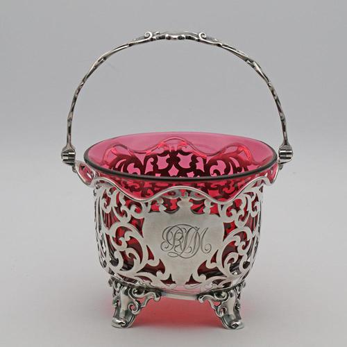 Victorian Silver & Cranberry Glass Basket (1 of 4)