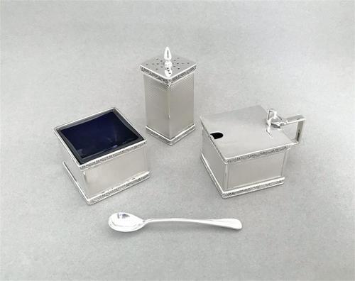 Stylish Art Deco Silver Three Piece Cruet (1 of 5)