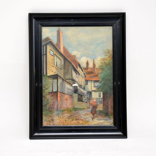 Antique Watercolour Painting of The Mermaid Inn, Rye by Annie L. Lee (1 of 10)