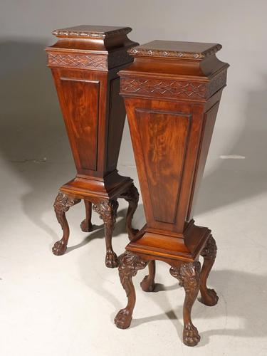 Unusual Pair of Early 20th Century Mahogany Pedestals (1 of 8)