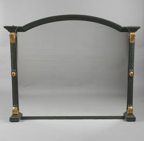 Large 19th Century English Victorian Painted & Gilt Overmantle Mirror (1 of 9)