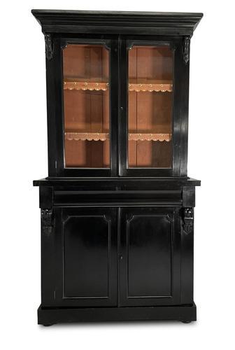 Ebonised Bookcase with Glazed Upper Section (1 of 7)