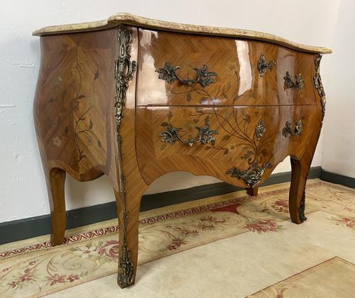 French Chest of Drawers Bombe Commode with Marble Top (1 of 12)