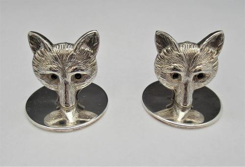 George V, Novelty Silver Fox Mask Place Stands/ Menu Holders, S Mordan & Co Ltd., London 1922 (1 of 8)