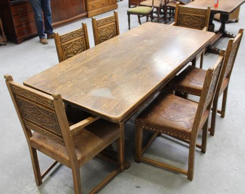 1900's French Oak Refectory Table with Set 6 Oak Chairs +Leather Embossed Seats. (1 of 9)