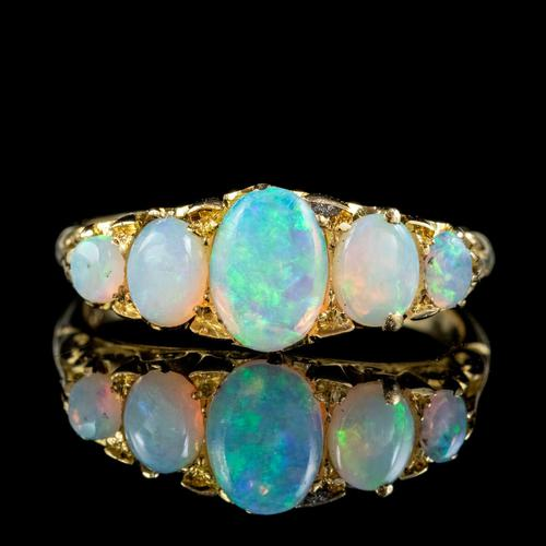 Antique Edwardian Opal Five Stone Ring 18ct Gold Dated 1908 (1 of 6)