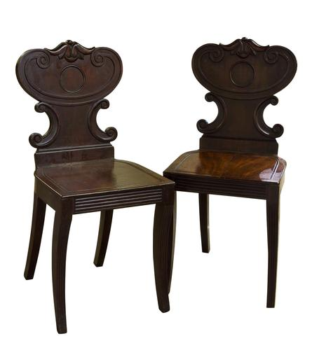 Pair of Regency Mahogany Hall Chairs (1 of 5)