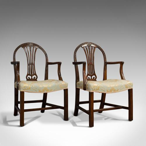 Pair of Antique Hepplewhite Revival Carvers, Mahogany, Armchair, Victorian (1 of 12)