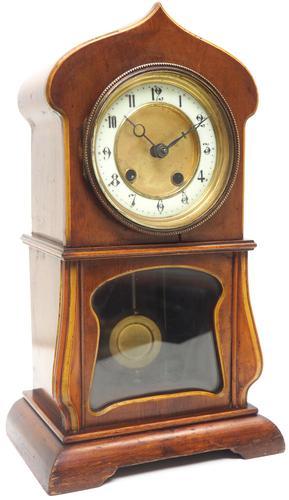 Fantastic Art Nouveau Mantle Clock Tulip Floral Inlay 8 Day Mantle Clock (1 of 10)