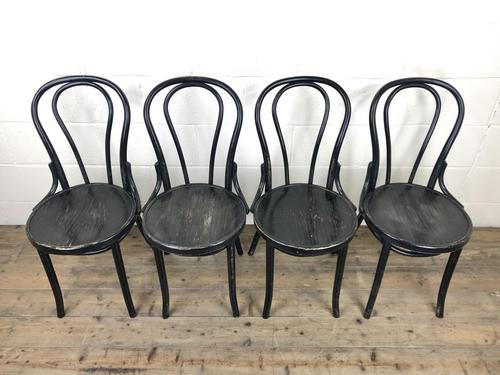Set of Four Ebonised Bentwood Café Chairs (1 of 14)