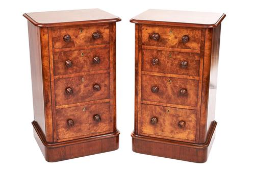 Pair of Victorian Burr Walnut 4 Drawer Bedside Chests (1 of 6)