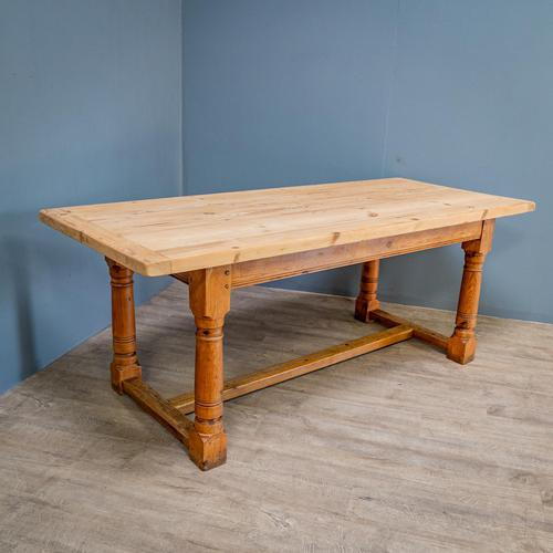 """""""h"""" Stretcher Pine Kitchen Table (1 of 8)"""