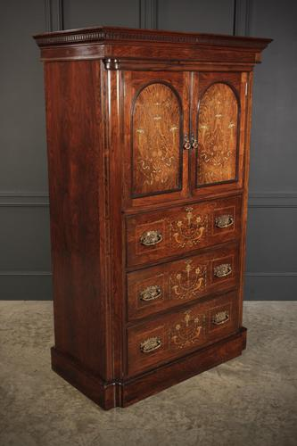 Marquetry Inlaid Rosewood Tallboy (1 of 12)