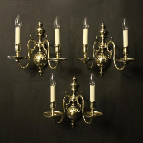 English Set of 3 Twin Arm Antique Wall Lights (1 of 10)