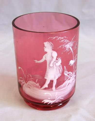 Antique Mary Gregory Cranberry Glass Tumbler (1 of 4)